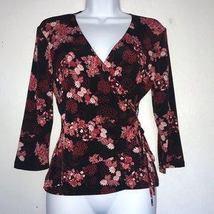 BCX Stretch Floral Faux Wrap Style Top L